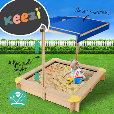 Keezi Kids Sandpit Outdoor Toys Box Canopy Wooden Play Sand Pit Toy Children