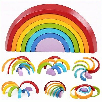 7 Color Wooden Stacking Rainbow Shape Brick Kids Childrens Educational Toy Set