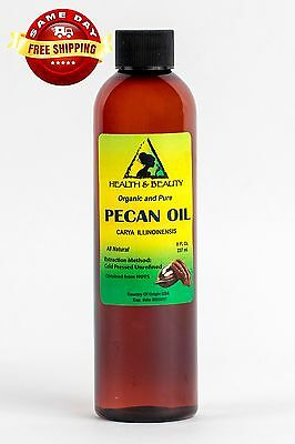 Pecan Oil Unrefined Organic Carrier Cold Pressed Virgin Raw Premium Pure 8 Oz
