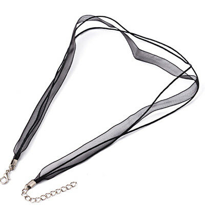 Ready Made Necklace -  45cm BLACK Organza Ribbon Waxed Cotton Cord with Clasp