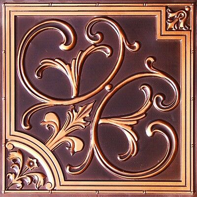 Tin Look Ceiling Tile-#204 Antique Copper (drop in/ glue up) 10 tiles ~40 sq.ft.