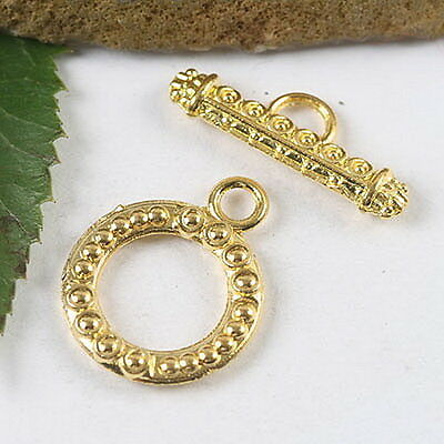 12sets gold tone round toggle clasps h1770
