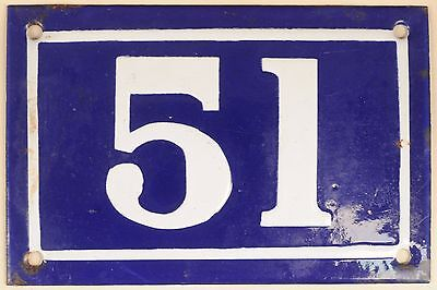 Old blue French house number 51 door gate plate plaque enamel metal sign c1950