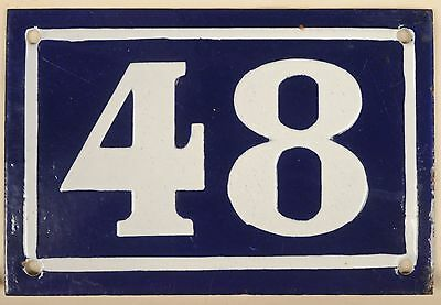 Old blue French house number 48 door gate plate plaque enamel steel sign c1950