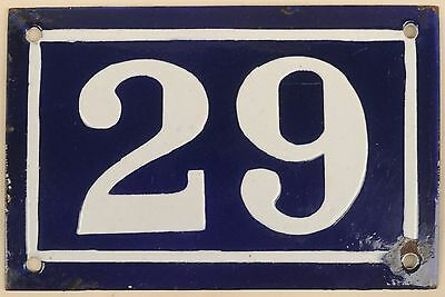 Old blue French house number 29 door gate plate plaque enamel metal sign c1950