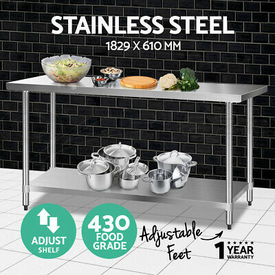 【20%OFF$192】 Stainless Steel Kitchen Benches Work Bench Food Prep Table 1829x610