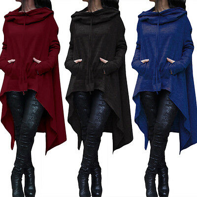 Women Batwing Hooded Asymmetric Loose Coat Pullover Poncho Cape Blouse Sanwood