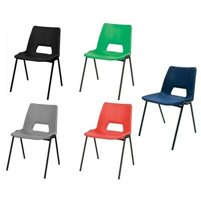 Stacking Canteen/Classroom Style Chair Metal Frame Poly Back Colour/Size Choice
