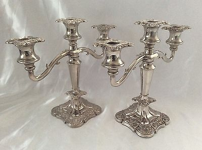 "Stunning Pair Of 10"" Antique Regency Style Silver Plated Candelabras 3 Kg"