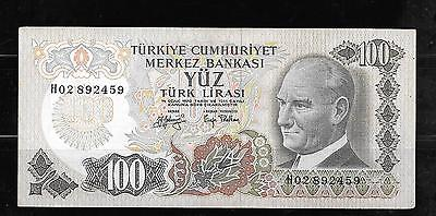 TURKEY #189b 1972 VF CIRC LARGE 100 LIRA BANKNOTE PAPER MONEY CURRENCY NOTE