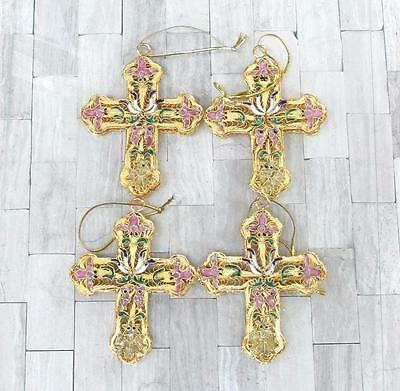 Old New Stock Lot of 4 Gold Tone Enameled Cross Ornaments ~ SS-4933
