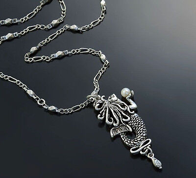 New Sweet Romance Free Spirit Art Nouveau Mermaid Necklace Silvertone ~Usa Made