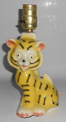 Vintage Child's Tiger Pup Clock Pottery Lamp