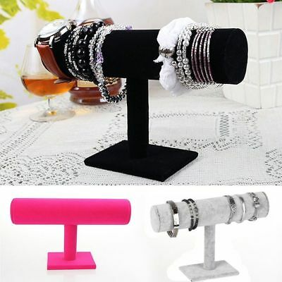 !Velvet T-Bar Jewelry Rack Bracelet Necklace Stand Organizer Holder Display HH