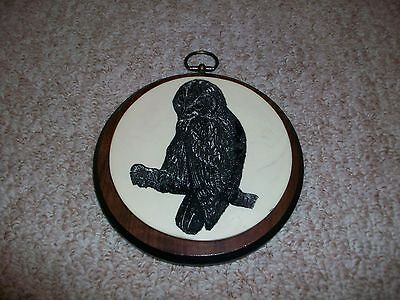 Round Wood Ceramic Owl Plaque Wall Hanging Vintage