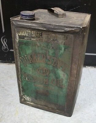 Rare Vintage Square Quaker State 5 Gallon Medium Oil Can Farm Fresh