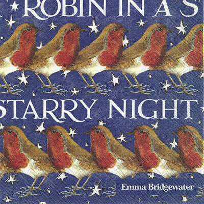 Emma Bridgewater Robin in a starry night cocktail Christmas paper napkins 25cm