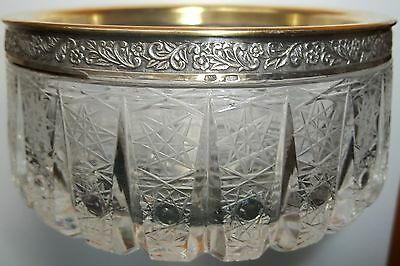 Russian Cut Crystal Bowl With Silver Rim 875 Repeating Floral Design Vintage