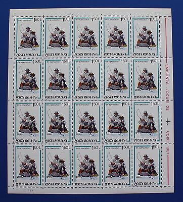Romania (#3038) 1982 Norman Rockwell Illustrations - Snagging the Big One sheet