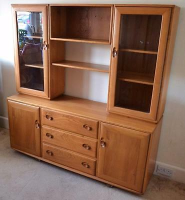Vintage ercol windsor light elm sideboard display for Ercol mural cabinets and sideboards