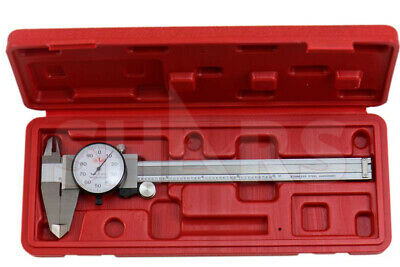 """SHARS 6"""" DIAL CALIPER SHOCK PROOF .001"""" STAINLESS 4 WAY + Inspection Report NEW"""