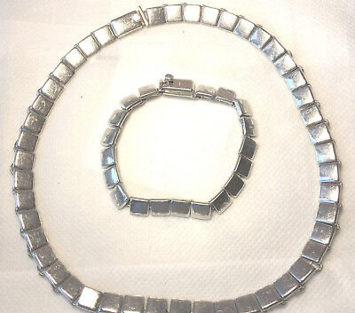 Vintage Sterling Silver Necklace And Pendant Set Stamped Mexico Very Heavy101Gr
