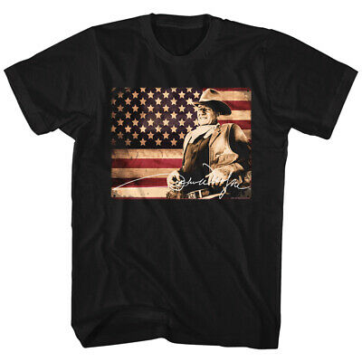 John Wayne Hollywood Icon Actor American Legend Flag In Color Adult T-Shirt Tee