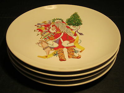 Set of 4 1985 Dayton Hudson Danta Claus With Presents Decorated Porcelain Plates