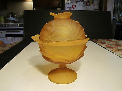 Unusual Vintage Viking Amber Cabbage Pattern Covered Candy Dish Set