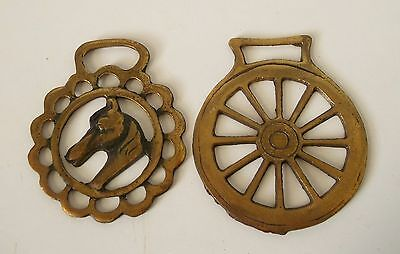 Lot of 2 Horse Brass Medallion Tack CARRIAGE WHEEL & HORSE HEAD