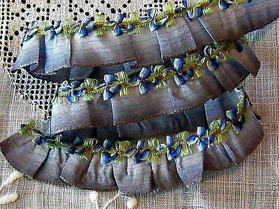 RARE 20s LUSCIOUS FRENCH PLEATED SILK OMBRE AND SILK ROCOCO ROSEETTE TRIM~ExC