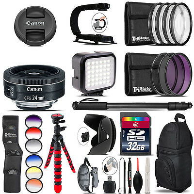 Canon EF-S 24mm f/2.8 STM Lens - Video Kit + Color Filter - 32GB Accessory Kit