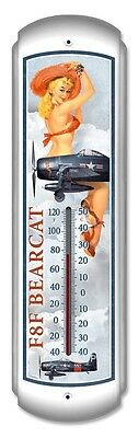 F8F Bearcat Pinup Thermometer - Hand Made in the USA with American Steel