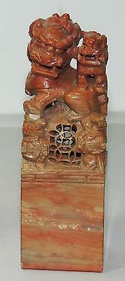 """CHINESE SHOUSHAN SOAPSTONE INK STAMP SEAL HAND-CARVED with FOO LIONS 4.5"""""""