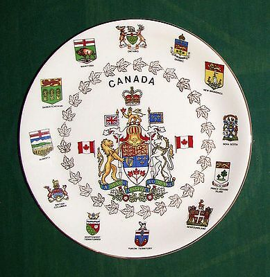 """Vint Alfred Meakin England 10"""" Canada & Provinces Coats of Arms Ironst. Plate VG"""