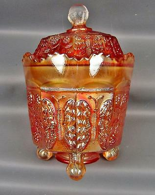 CARNIVAL GLASS - FENTON BUTTERFLY & BERRY Marigold Covered Sugar 3841
