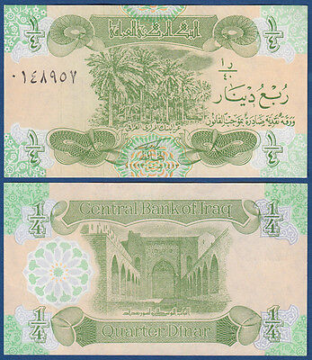 Chinese printer palm trees // town wall of Baghdad 1//4 Dinar Iraq P77 UNC