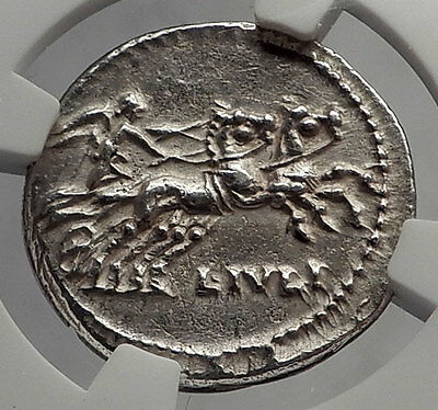 Roman Republic 101BC Rome Authentic Ancient Silver Coin Roman Chariot NGC i62353