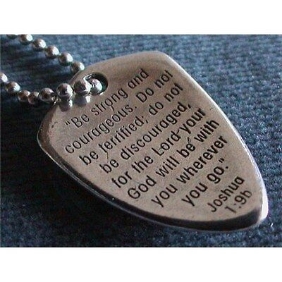 Shield Of Faith Pendant Necklace w/Joshua 1:9 inscribed - 24-inch Chain - New