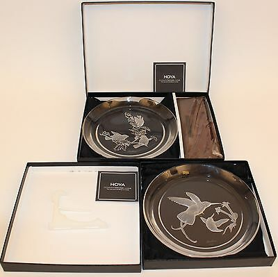 2 Different Hoya Crystal Boehm Bird Plates In Boxes With Stands