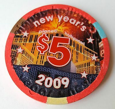 $5 Las Vegas Planet Hollywood 2009 New Years Casino Chip - Uncirculated