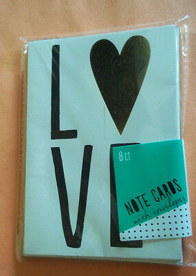 Note Cards - Package of 8 w/LOVE on Front -White w/Black & Gold -New w/Envelopes