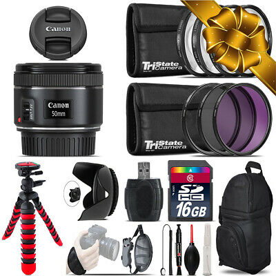 Canon EF 50mm f/1.8 STM Lens + Macro Filter Kit & More - 16GB Accessory Kit