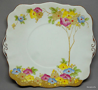 "Royal Standard Plate Square 8"" Roseate Pattern Floral Bone China UK 1950s unused"