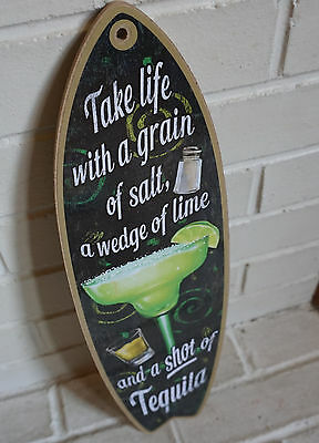 TAKE LIFE WITH A GRAIN OF SALT MARGARITA SURFBOARD SIGN Cantina Beach Bar Decor