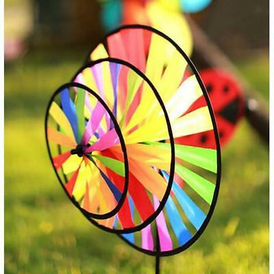 Rainbow 3 Whirligig Wheels Windmill Wind Rotator Lawn Yard Decor Outdoor Toy