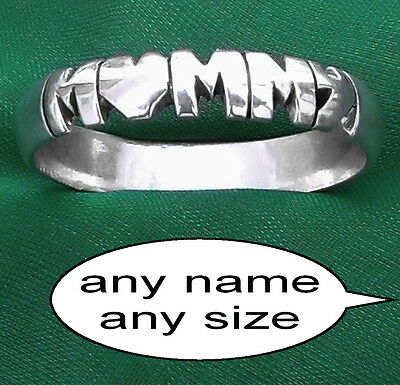 personalized sterling silver name,initial ring band,custom,hand carved jewelry