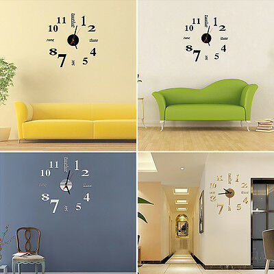 DIY Wall Clock Sticker Home Decor Modern Analog 3D Mirror Surface Large Number