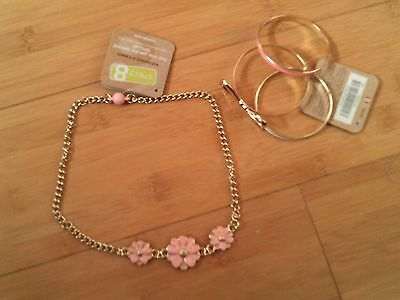 NWT CRAZY 8 Girls Daisy Necklace & Bangles Bracelet Set NEW 2T 3T 4T 5T 6 7 8 10
