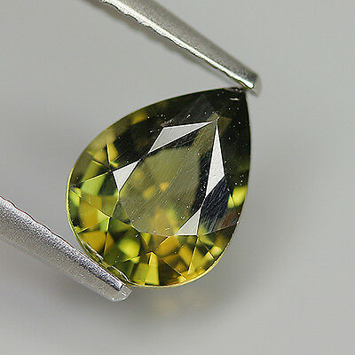 Awesome 1.74 Ct Natural Unheated Rare Greenish Yellow KORNERUPINE Pear Gem !!